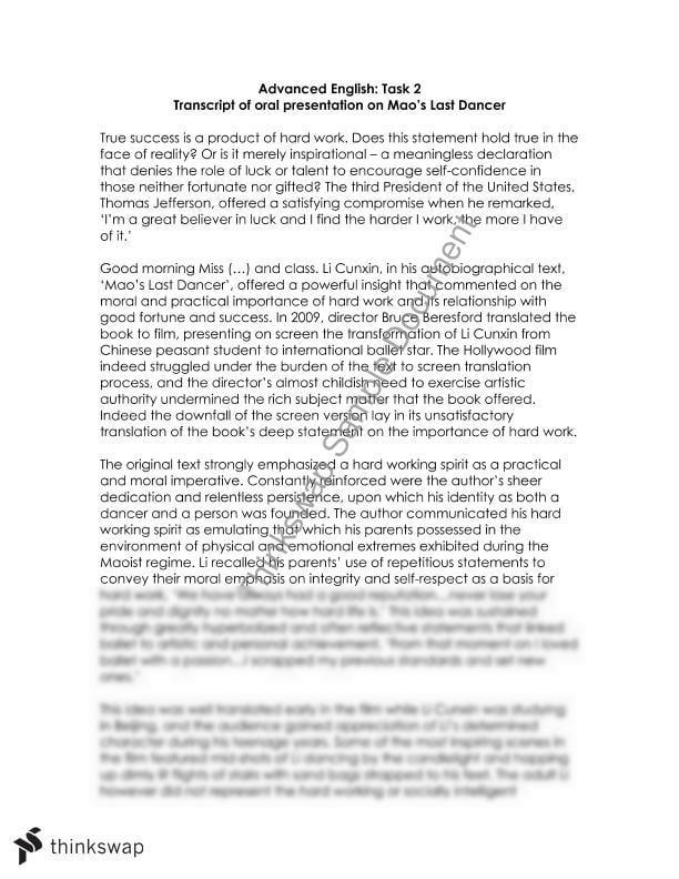 maos last dancer essay topics