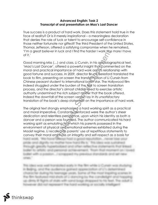 maos last dancer essay
