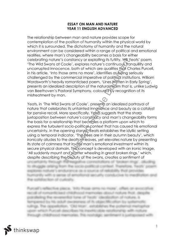 man and nature essay in english