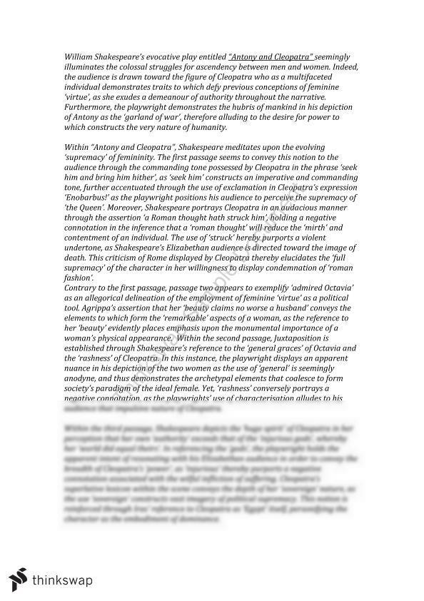 Antony And Cleopatra Practise Essay Year 12 VCE English