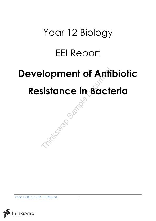 12 Biology EEI: Development of Antibiotic Resistance