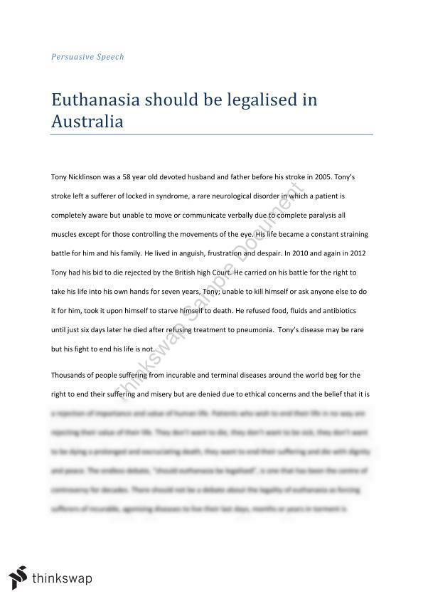 euthanasia speech essay