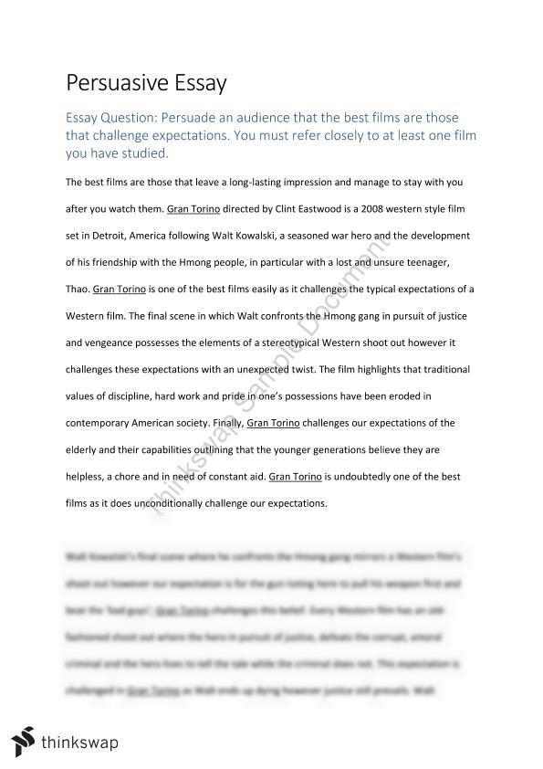 1000 Word Essay On Accountability Gran Torino Persuasive Essay Organizational Change Essay also Greek Civilization Essay Gran Torino Persuasive Essay  Year  Wace  English  Thinkswap Observation Essay Topic Ideas