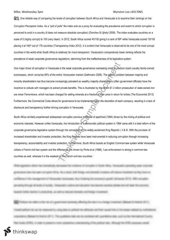 FINS3616 Assignment - Venezuela Study on Corporate Governance