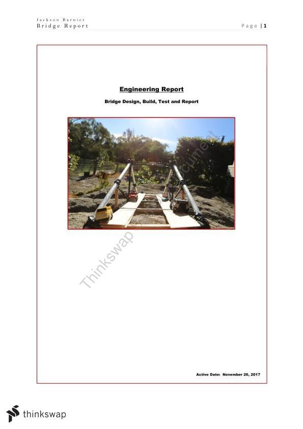 HSC Engineering, Civil Structures: Bridge Report | Year 12