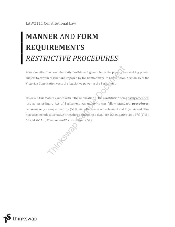 Manner and Form Requirements (Restrictive Procedures)