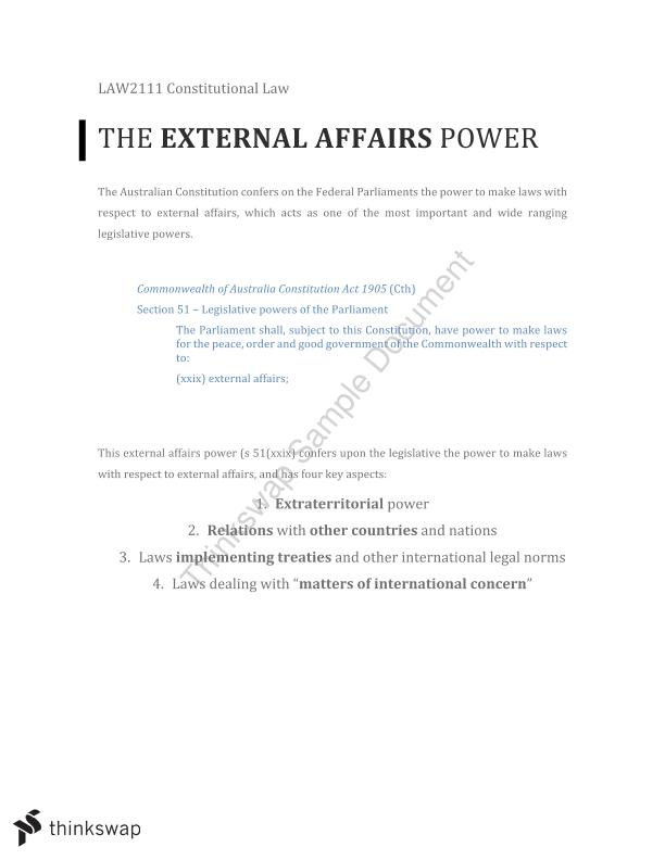 External Affairs Power