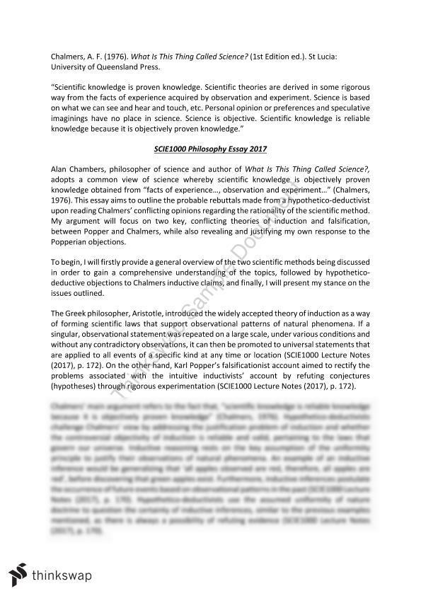Scie1000 Philosophy Essay 2017 Scie1000 Science Thinkswap
