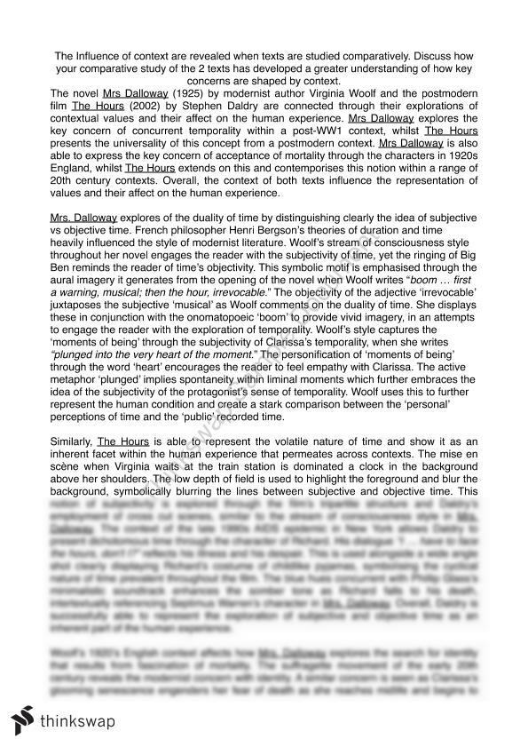 Comparative Essay On The Contexts Of Mrs Dalloway And The Hours  Comparative Essay On The Contexts Of Mrs Dalloway And The Hours