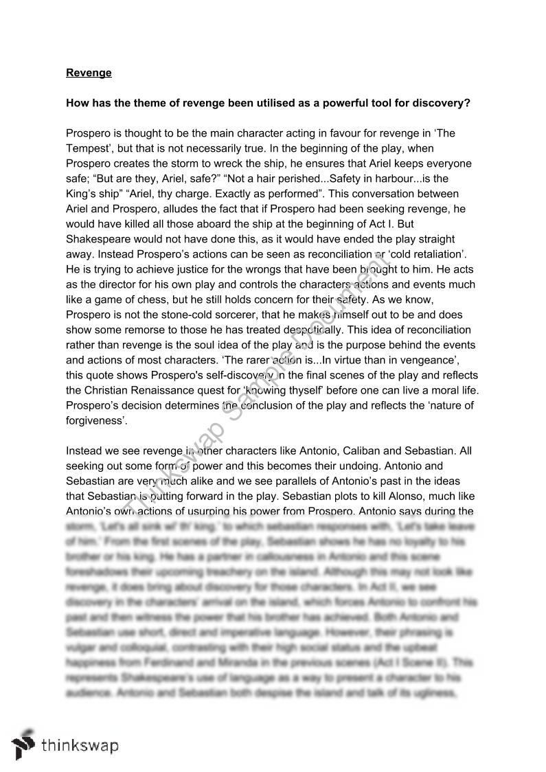 Advanced English 'The Tempest'  Essay. Revenge and Discovery