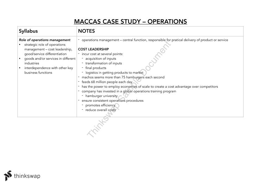 Mcdonalds Case Study --> Business Studies Operations | Year