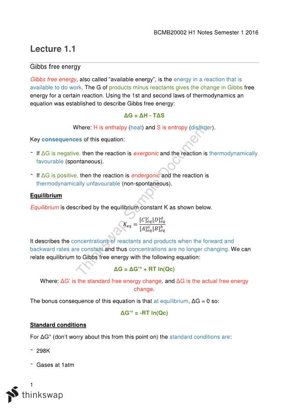 Biochemistry and Molecular Biology - Full lecture notes | BCMB20002