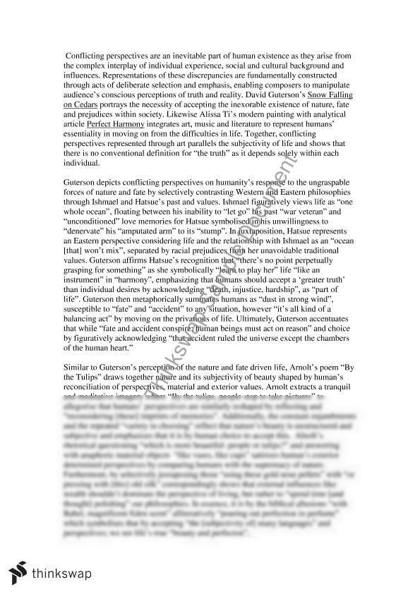 Conflicting Perspective Snow Falling On Cedar English Advanced Year 12 Hsc Thinkswap Argumentative Essay Cedars