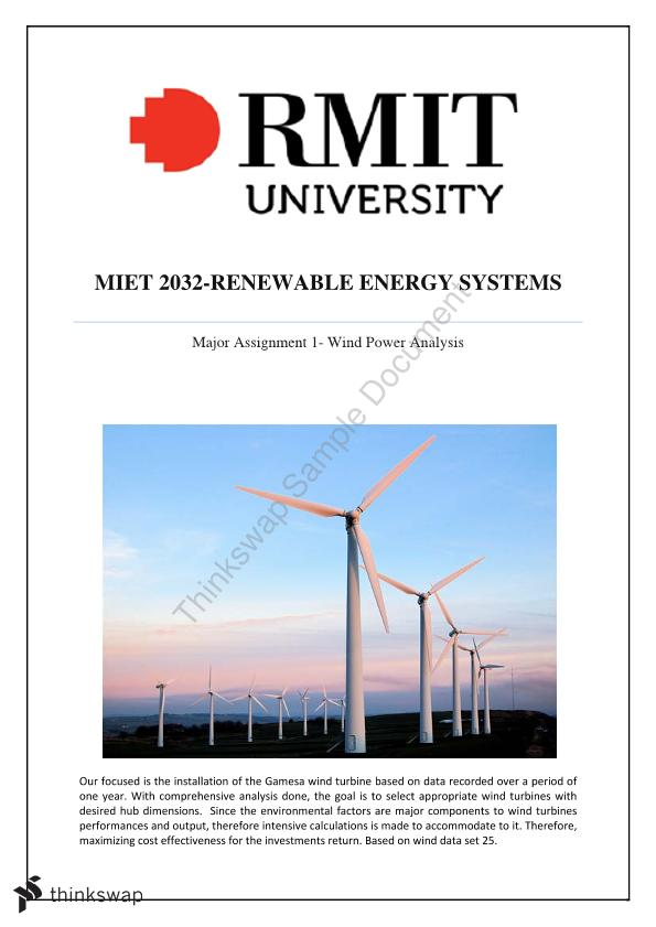 Major Assignment 1- Wind Power Analysis | MIET2032 - Renewable