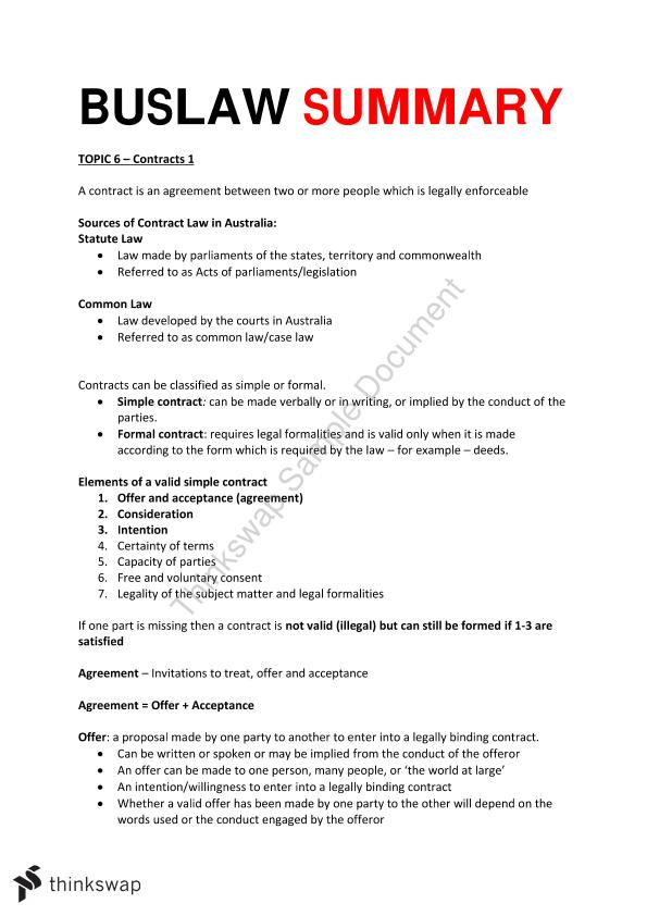 Buslaw Summary Topic 6 Contracts Law