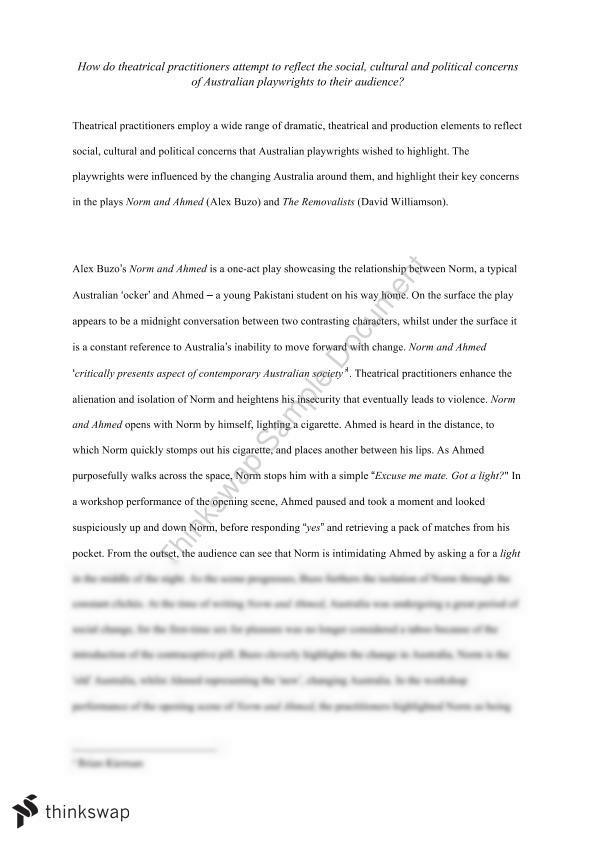 Contemporary australian theatre essay