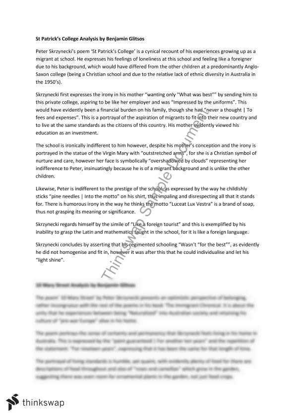 st patricks college peter skrzynecki essay
