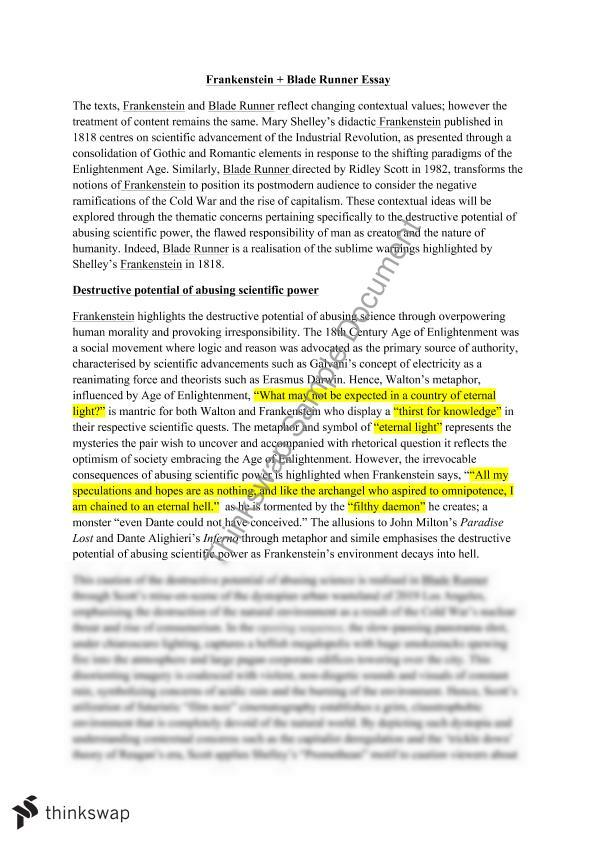 frankenstein blade runner thesis statements Our prompt/thesis statement essay community 'all things truly wicked start for frankenstein, papers, as always blade runner and frankenstein thesis.