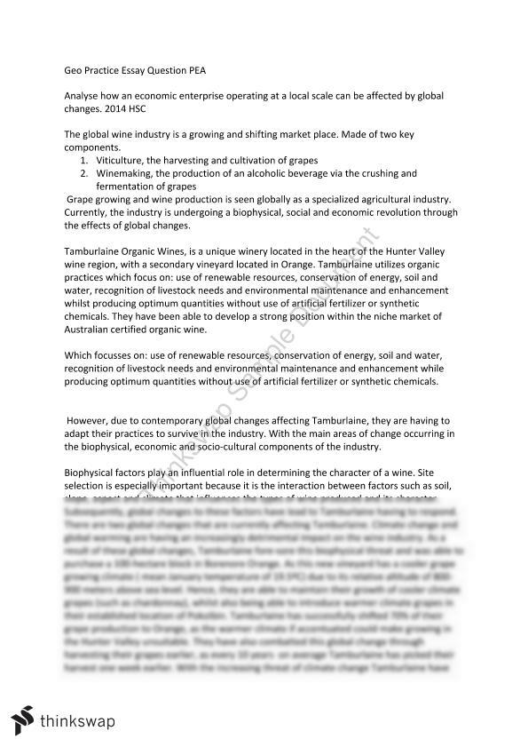 Example Of Thesis Statement For Essay Hsc Geography Essay  Pea Health Essay Sample also English Essay My Best Friend Hsc Geography Essay  Pea  Year  Hsc  Geography  Thinkswap Business Essay Structure