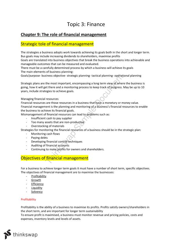 Complete Finance Business Studies Notes