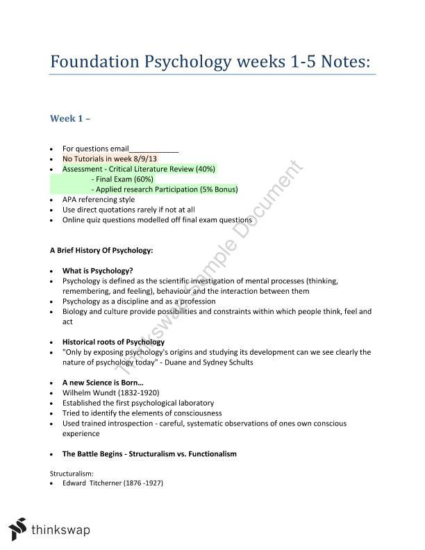 Foundation Psychology Semester Notes I | PYB100 - Foundation