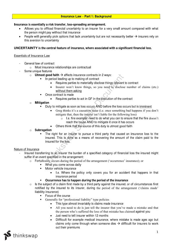Insurance Law Full Study Notes