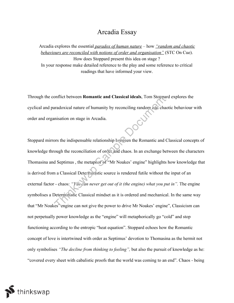 Advanced English Essay On Arcadia By Tom Stoppard  Year  Hsc  Advanced English Essay On