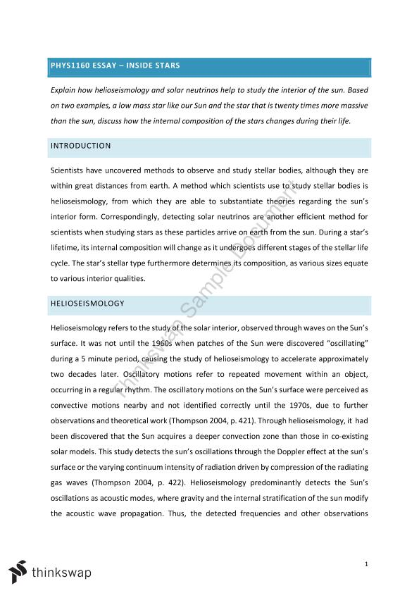 Synthesis Essays Phys Astronomy Essay Essay On Healthy Eating also A Level English Essay Phys Astronomy Essay  Phys  Introduction To Astronomy  Thesis Examples For Argumentative Essays