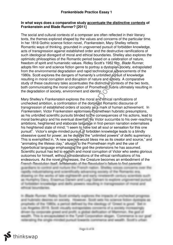 frankenstein and blade runner essay year hsc english  frankenstein and blade runner essay