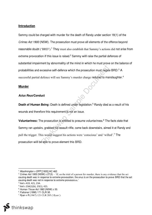 Murder Essay  Law  Criminal Justice And Procedure  Thinkswap Murder Essay