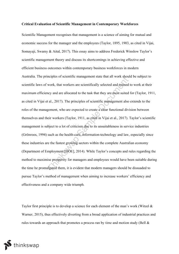 Proposal Essay Topics Management Essay Taylorism In Modern Management Apa Format For Essay Paper also Analysis Essay Thesis Management Essay Taylorism In Modern Management  Mgc  Should The Government Provide Health Care Essay