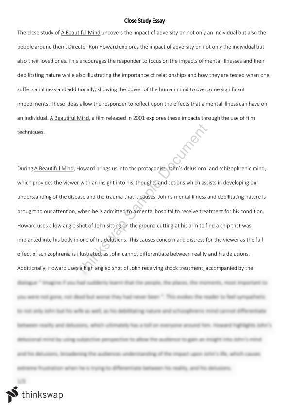 A Beautiful Mind Close Study Essay  Year  Hsc  English Standard  A Beautiful Mind Close Study Essay Essay Paper Topics also High School Argumentative Essay Topics  How To Write A Good Proposal Essay