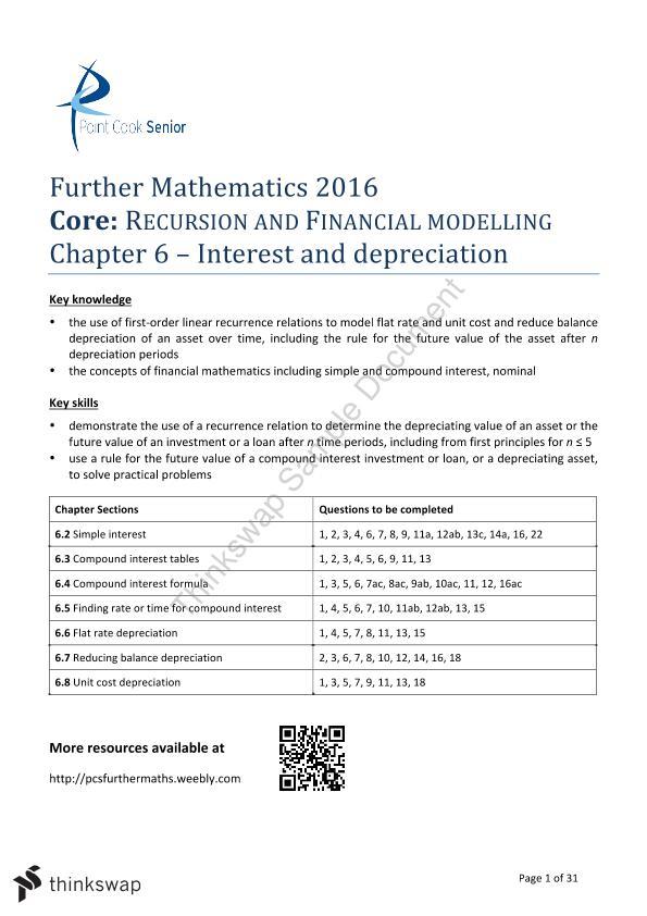 Core - Financial Maths Notes | Year 12 VCE - Mathematics