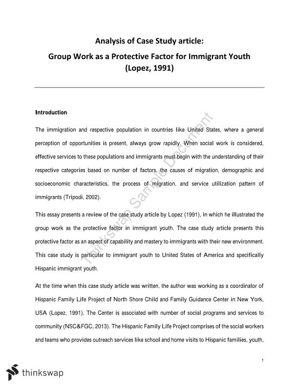 Analysis of Case Study article: Group Work as a Protective Factor for Immigrant Youth