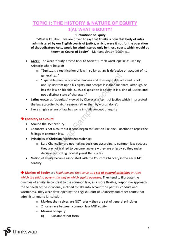 LAWS2015 Equity Final Exam Notes
