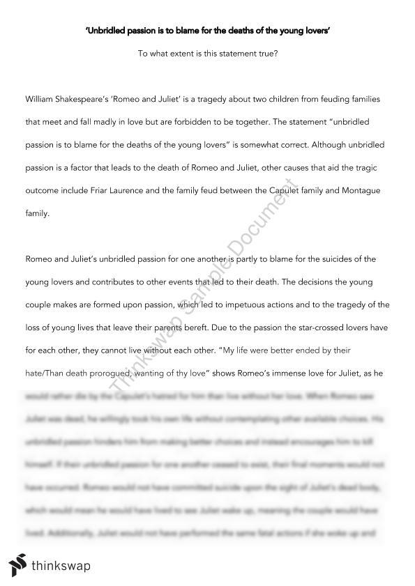 romeo and juliet essay  year  hsc  english advanced  thinkswap romeo and juliet essay