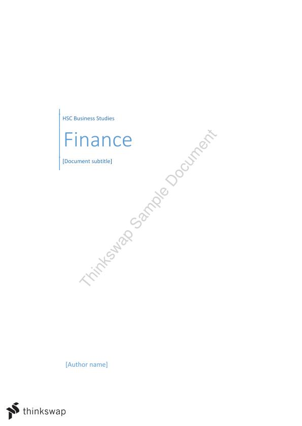 Complete Finance Notes - HSC Business Studies