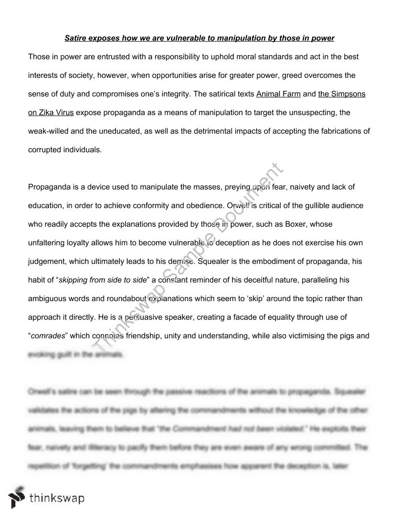 satirical analysis essay