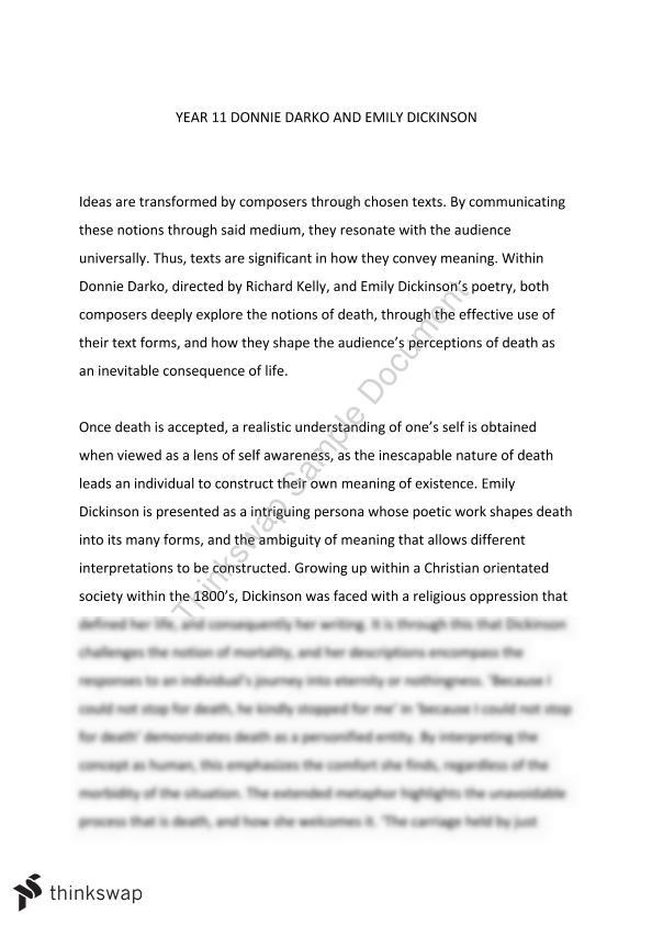 Donnie Darko And Emiyl Dickinson Essay  Year  Hsc  English  Donnie Darko And Emiyl Dickinson Essay