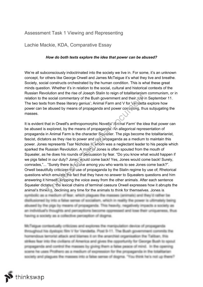 Thesis Argumentative Essay Comparative Sample Essay Animal Farm  V For Vendetta High School Essay Examples also Essay My Family English Comparative Sample Essay Animal Farm  V For Vendetta  Year  Hsc  English Essay Examples