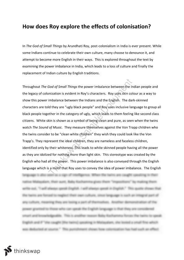 Colonisation Essay on the God of Small Things | Year 12 SACE ...