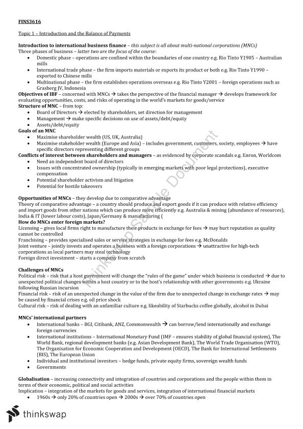 Complete Study Notes  FINS3616