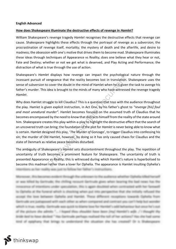 an analysis of the inner conflicts and introspective in the tragedy of hamlet by william shakespeare The tragical history of hamlet, prince of denmark, or, as it's more simply known, hamlet, is a play that holds immense importance in english literature this drama was written by william shakespeare between 1599 and 1601 the plot is set in the country of denmark, and the main protagonist is prince.