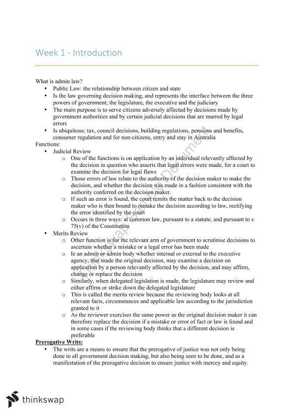 Administrative Law Course Notes