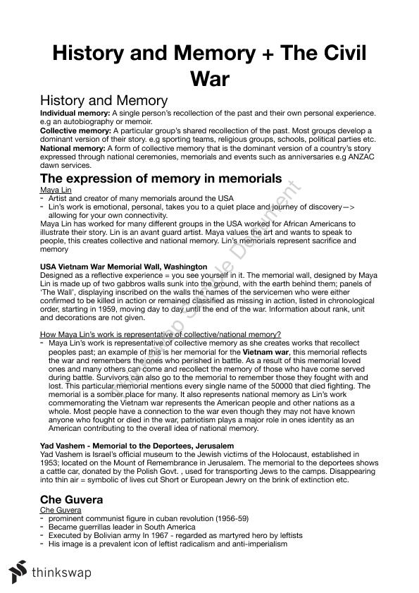 Modern History - History and Memory and the Civil War Notes