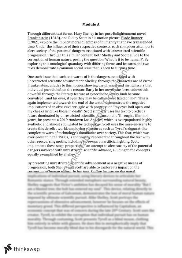 blade runner and frankenstein thesis Although perspectives and values change with time, ideas and concepts can transcend the gothic novel frankenstein by mary shelley and the science fiction film blade runner directed by ridley scott although composed over one hundred years apart contain the same perennial concepts on the nature of humanity.