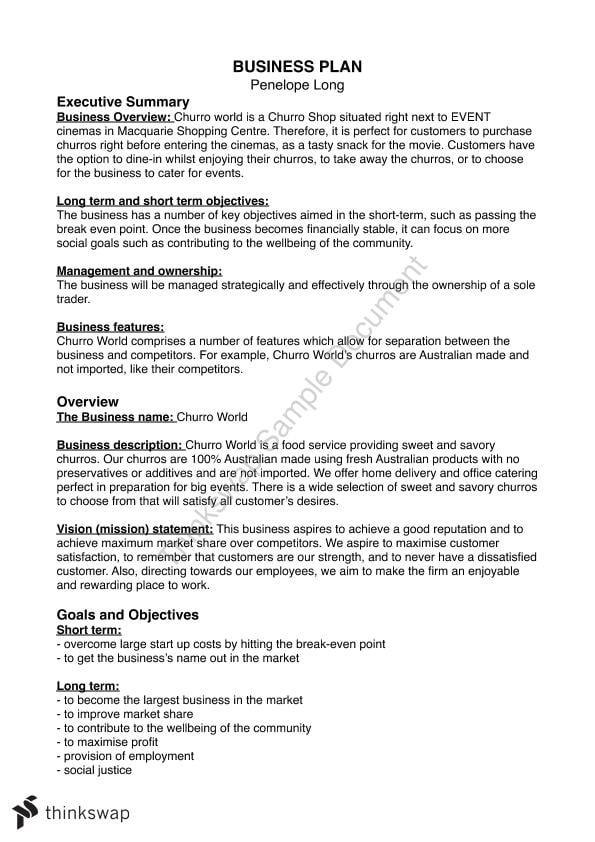 Business Plan Year 11 | Year 11 HSC - Legal Studies | Thinkswap