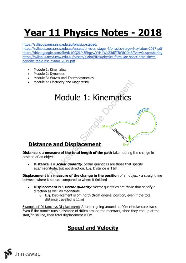 Year 11 Physics 2018 Preliminary Notes Module 1-4 | Year 11 HSC