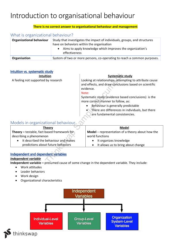 MGMT1002 Managing Organisational Behaviour Notes