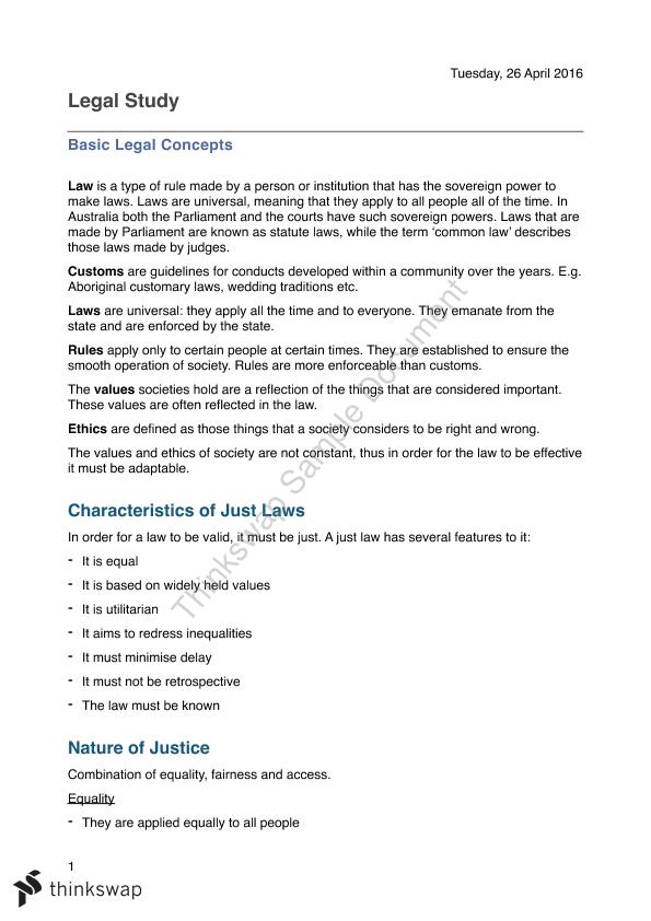 Best Preliminary Legal Studies Full Summary - ATAR 95